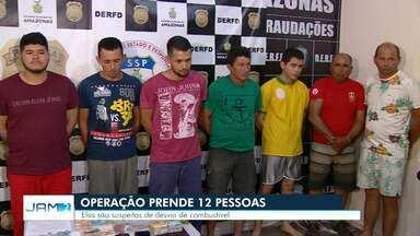 Operação prende 12 pessoas suspeitas de desvio de combustível em Manaus - Grupo foi apresentado nesta sexta-feira (21).