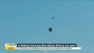 Valinhos e Jundiaí sofrem com os balões - Prática criminosa foi flagrada durante o fim de semana.