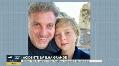 Filho de Luciano Huck e Angélica se recupera em hospital em Copacabana - Benício, de 11 anos, sofreu acidente quando praticava um esporte no mar em Ilha Grande