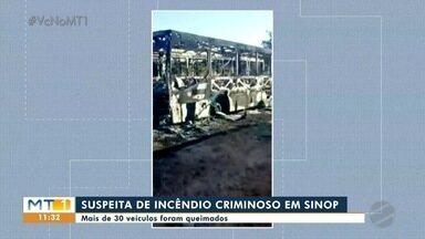 Veículos são incendiados em usina hidrelétrica em Sinop - Veículos são incendiados em usina hidrelétrica em Sinop.