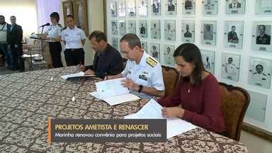 Marinha renova convênio de projeto social com prefeituras da região - Projetos Ametista e Renascer vão oferecer oportunidade para jovens carentes de Rio Grande e de São José do Norte.