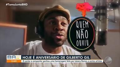 Lázaro Ramos e mais dois atores gravam canção em homenagem a Gilberto Gil - Artista completa 77 anos nesta quarta-feira (26).