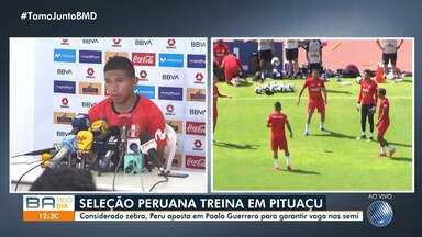 Seleções do Peru e do Uruguai fazem treino em Salvador para jogo no sábado - Equipes se enfrentam na Arena Fonte Nova, pelas quartas de final da Copa América.