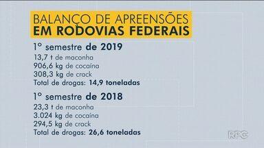 Mais de 14 toneladas de drogas foram apreendidas nas estradas, segundo PRF - Este é o número total de apreensões nas rodovias federais que cortam o Paraná.