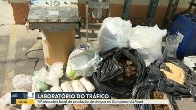 """PM descobre """"laboratório do tráfico"""" na Maré - Equipamentos, produtos químicos e drogas foram apreendidos."""