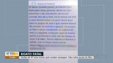 Mulher morre após receber boato de ataque em escola de filho no ES - Ana Lucia já tinha problemas cardíacos e infartou depois de saber de suposto ataque na manhã de terça-feira (2).