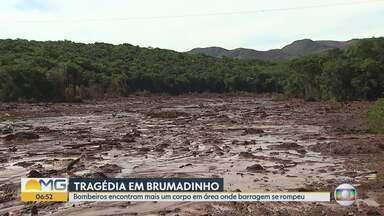 Mais de 5 meses após rompimento de barragem da Vale, corpo é encontrado em Brumadinho - Ele foi encaminhado para o IML de Belo Horizonte para exames de identificação.