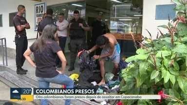 Oito colombianos são presos por assaltos em Copacabana - Celulares e dinheiro não foram recuperados.