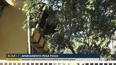Apartamento pega fogo em Londrina - Morador está internado em estado grave no hospital.