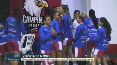 Basquete de Campinas repete o placar contra o São Bernardo - Time do Basquete de Campinas repetiu o placar do primeiro jogo das quartas-de-final contra o São Bernado, venceu em casa e se classificou para as Semis da Liga Nacional de Basquete feminino.