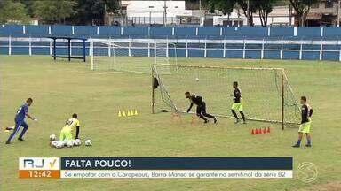 Barra Mansa e Carapebus decidem vaga na semifinal da terceira divisão do carioca - Times estão empatados com 13 pontos no grupo B. Mas o Barra Mansa leva vantagem no saldo de gols e, por isso, joga por um empate diante de sua torcida. Duelo será domingo no Leão do Sul.