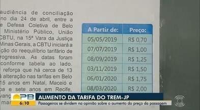 Tarifa de trem passa a custar R$ 1, na Grande João Pessoa - Valor faz parte do aumento progressivo das tarifas, liberado pela Justiça. Tarifa vai custar R$ 2 em março de 2020.
