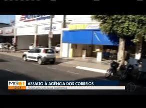 Dupla leva cerca de R$ 2 mil, além de dólares e euros após assalto em agência dos Correios - Segundo a polícia, imagens do circuito interno de vigilância da agência também foram levadas pelos autores; crime ocorreu no Bairro Vila Bretas.