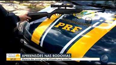 PRF apreende em média 8 armas nas principais rodovias federais que cortam a Bahia - Maior parte das armas é utilizada para assaltos a ônibus e motoristas.