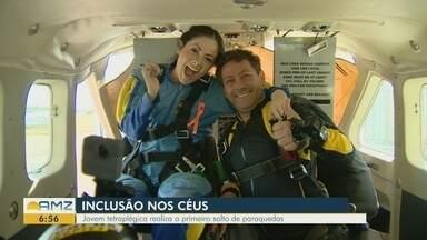 Advogada e ativista, tetraplégica salta de paraquedas em defesa da inclusão - Em Manaus, Nancy Segadilha lançou projeto 'Inclusão Dever de Todos' no céu após convite de amiga para se aventurar no paraquedismo.