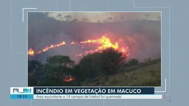 Área equivalente a 14 campos de futebol é queimada em Macuco - 20 mil litros de água foram utilizados para apagar as chamas.