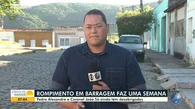 Cidades de Pedro Alexandre e Coronel João Sá ainda têm moradores desabrigados - Rompimento da barragem do Quati completa uma semana nesta quinta-feira (18).