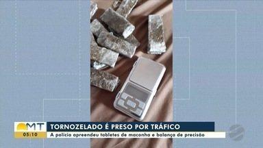 Tornozelado é preso com tabletes de maconha e balança de precisão - Tornozelado é preso com tabletes de maconha e balança de precisão