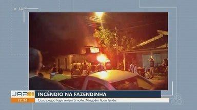 Casa de dois andares é atingida por incêndio no distrito de Fazendinha, em Macapá - Nenhum morador ficou ferido. Chamas foram contidas pelo Corpo de Bombeiros.