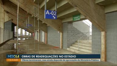 Readequações no estádio de futebol de Cascavel são feitas, mas liberação depende do MP - Rampas de acesso estavam irregulares. Bombeiros precisam ainda fazer uma vistoria da obra.