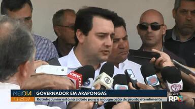 Governador Ratinho Júnior fala sobre professores temporários e pedágios no Paraná - O governador esteve em Arapongas para reinaugurar Unidade de Pronto Atendimento 24 horas.