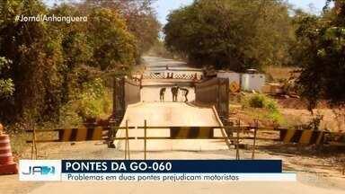 Com interdição de ponte metálica na GO-060, motoristas enfrentam problemas - Caminho por Israelândia está mais inviável após estrutura provisória ficar comprometida por conta de um acidente.
