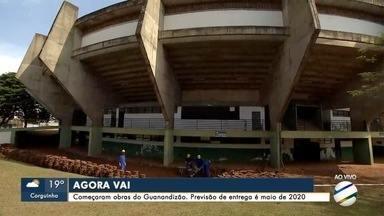 Começaram as obras de recuperação do estádio Guanandizão, em Campo Grande - Trabalho deve seguir até 2020 e reabertura será com Liga Mundial de Vôlei.