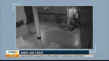 Vídeo mostra roubo a loja de baterias inaugurada há dois dias, em João Pessoa - Loja foi inaugurada no último sábado (27). Esse é o terceiro arrombamento, em cinco dias, em lojas de uma mesma rede de baterias.