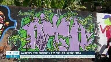 Grafiteiros do estado do Rio e de São Paulo colorem os muros de Volta Redonda - Objetivo do projeto é deixar cidade com mais vida.