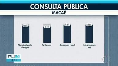 Moradores de Macaé aprovam tarifa zero de água e passagem a R$ 1 - Consulta pública foi realizada neste domingo (29).