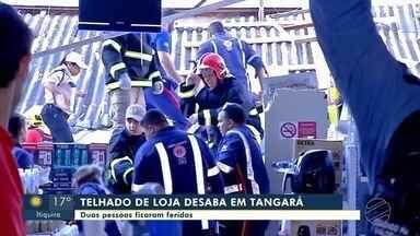 Telhado de loja de shopping desaba e deixa dois feridos em Tangará da Serra - Telhado de loja de shopping desaba e deixa dois feridos em Tangará da Serra