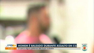 Homem é baleado durante assalto, em Campina Grande - Carro da vítima e outros pertences foram levados pelos criminosos, no bairro do Catolé.