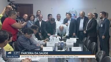 Pacientes de Praia Grande, SP, poderão ser atendidos na Santa Casa de Santos - Foi assinada uma parceria entre a Prefeitura de Praia Grande e a Santa Casa, para que pacientes da cidade possam ser encaminhados para atendimento em Santos.