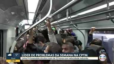 Linha 9-Esmeralda liderou o ranking de problemas da CPTM - Na semana passada a linha apresentou mais de 25 horas com velocidade reduzida