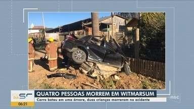 Quatro pessoas morrem após carro bater em palmeira às margens de rodovia em SC - Quatro pessoas morrem após carro bater em palmeira às margens de rodovia em SC