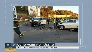 Mulher de 41 anos morre em acidente na SC-135, em Videira, no Meio Oeste de SC - Mulher de 41 anos morre em acidente na SC-135, em Videira, no Meio Oeste de SC
