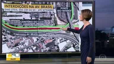 Av. Brasil terá interdições, durante as madrugadas, no sentido Zona Oeste - Obras no corredor Transbrasil irão durar até setembro. Bloqueio será na altura do Caju, entre 23h e 5h, nos dias úteis.