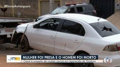 Homem suspeito de roubo de carros morre em confronto com a PM, em Aparecida de Goiânia - Segundo polícia, homem desobedeceu ordem de parar e entrou em confronto com os policiais. Mulher também estava no veículo, roubado, mas não se feriu. Irmão dela é procurado.