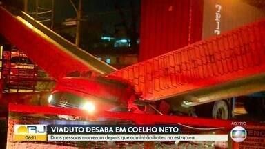Viaduto desaba e deixa duas pessoas mortas em Coelho Neto - O acidente ocorreu na noite desta quinta (8) após um caminhão colidir na estrutura do viaduto em Coelho Neto. Duas pessoas morreram, uma das vítimas é o motorista do caminhão.