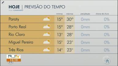 Previsão do tempo: sexta-feira é de temperaturas altas no Sul do Rio - Dia é de sol e sem chance de chuva na região.