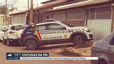 Moradores do Gama e Ceilândia flagraram cenas curiosas - Uma moto da PM foi flagrada na garagem de uma casa em Ceilândia e uma viatura também da PM estava estacionada em frente a uma casa no Gama.