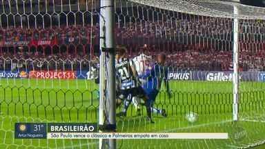 Palmeiras cede empate em casa enquanto Tricolor vence o clássico San-São - Verdão ficou no empate por 2 a 2 com o Bahia na Arena Palmeiras. No Morumbi, o São Paulo venceu o Santos, mas o Peixe continua líder.