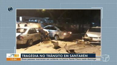 Duas pessoas morrem em acidente no bairro Santa Clara, em Santarém; condutor de veículo es - O acidente aconteceu por volta das 2h de domingo (11). O condutor do carro que causou o acidente estava embriagado.