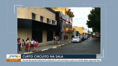 Transformador de escola em Boa Vista dá curto circuito e assusta estudantes - Equipamento danificado chegou a causar um princípio de incêndio na escola Euclides da Cunha e aulas foram suspensas.