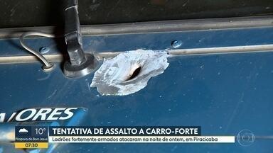 Tentativa de assalto a carro-forte em Piracicaba - Crime foi na noite desta quarta-feira. Ladrões fortemente armados atacaram o carro. Houve troca de tiros.