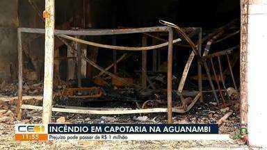 Novo foco em capotaria destruída por incêndio - Saiba mais em g1.com.br/ce