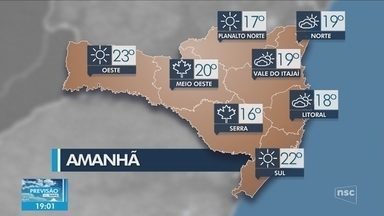 Veja como ficará o tempo em todas as regiões de SC nesta quinta-feira (15) - Veja como ficará o tempo em todas as regiões de SC nesta quinta-feira (15)