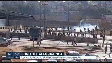 Confusão durante o jogo Brasiliense X Goiás, no Serejão - De acordo com a Polícia Militar, torcedores do Brasiliense com pedras e paus cercaram o ônibus da torcida adversária. A polícia reagiu com bombas de gás, balas de borracha e spray de pimenta.