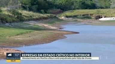 Represas em estado crítico no interior - Abastecimento em Marília e Bauru está prejudicado pela falta de chuvas.