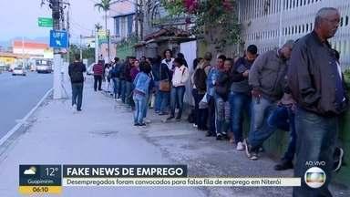 Falsas vagas de emprego são divulgadas na internet - Um boato circulou em grupos de whatsapp e nas redes sociais, dizendo haver vagas de empregos em Niterói. Desempregados formaram fila em busca de uma vaga.